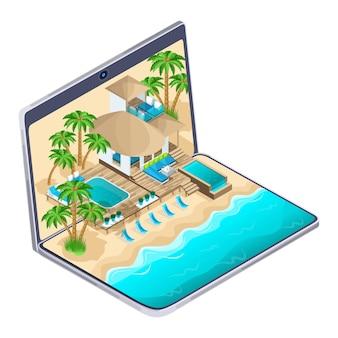 Isometrische werbung des resorts auf den malediven auf einem laptop, ein helles werbe-reisekonzept