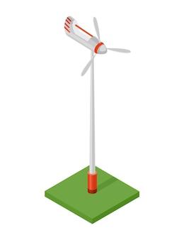Isometrische windkraftanlage. konzept der sauberen energie. saubere ökologische kraft. öko erneuerbare elektrische energie aus windmühle. symbol für das web.