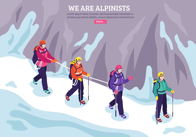 Isometrische winterillustration des bergsteigens