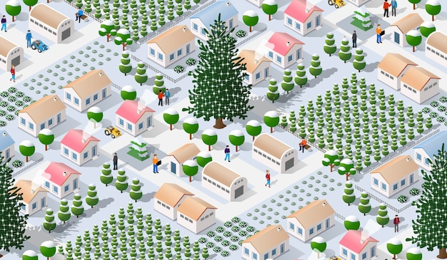 Isometrische winterstadt