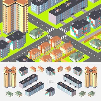 Isometrische wohngebäude