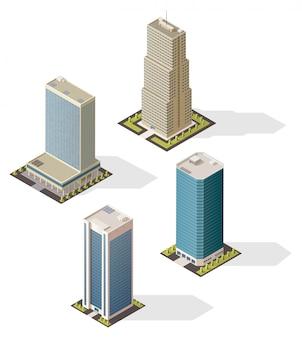 Isometrische wolkenkratzergebäude 3d ikonen