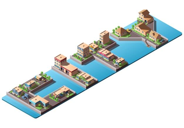 Isometrische wortstadt mit niedrigen polygebäuden und autos