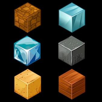 Isometrische würfel des spielblock-3d stellten elemente ein