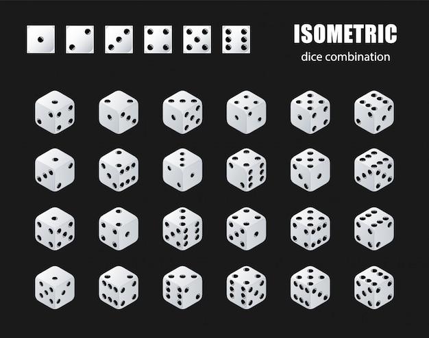 Isometrische würfel. satz isometrischer würfelkombination. weiße pokerwürfel isoliert