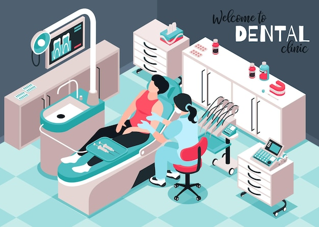 Isometrische zahnarztillustration