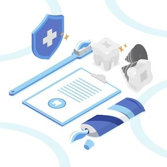 Isometrische zahnpflegekonzeptillustration