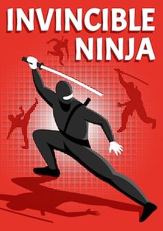 Isometrische zeichenvektorillustration des unbesiegbaren ninja-kriegers