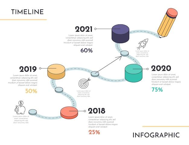 Isometrische zeitleisten-infografik-vorlage