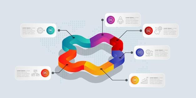 Isometrische zeitleisten-infografiken 6 schritte mit symbolen für geschäft und präsentation