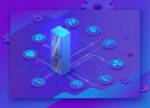 Isometrische zielseite 3d der kryptowährung