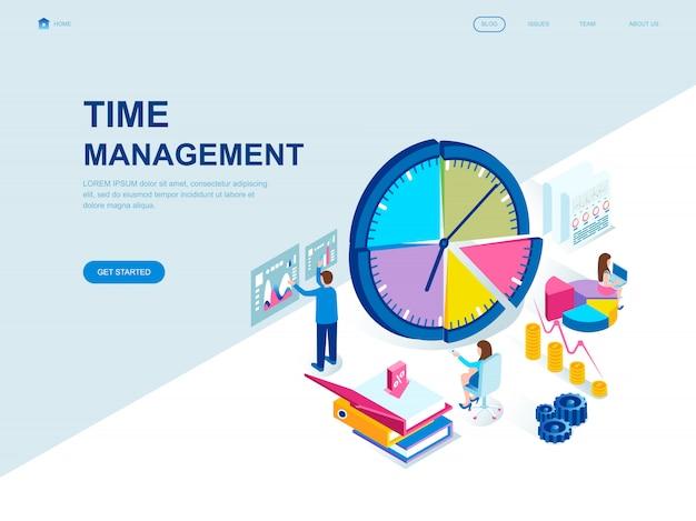 Isometrische zielseite der modernen flachen bauweise von time management