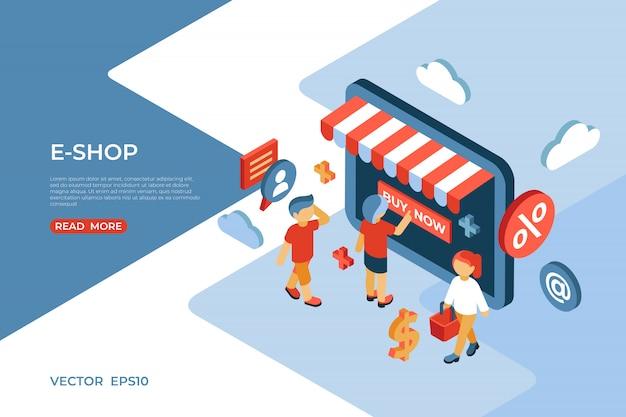 Isometrische zielseite des e-shop-speichers mit glücklichen kunden