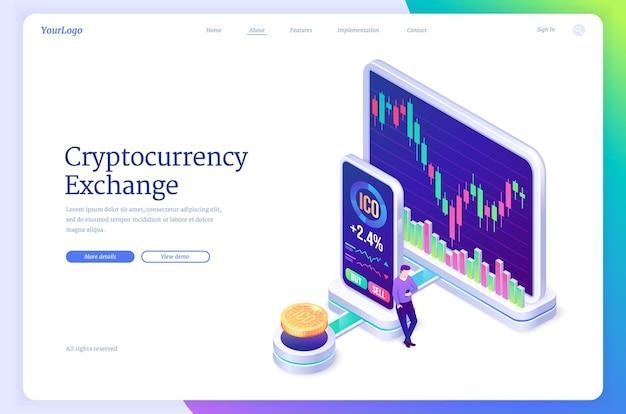 Isometrische zielseite des marktes für kryptowährungsbörsen