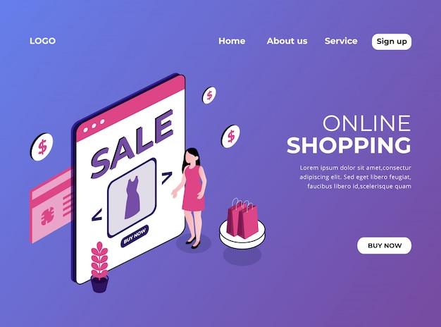 Isometrische zielseite des online-shoppings