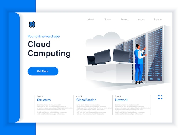 Isometrische zielseite für cloud computing. it-spezialist in der nähe des server-racks in rechenzentrumsituation. hardware-technologie der hosting-plattform, datenstrukturierung und klassifizierungsperspektive flaches design.