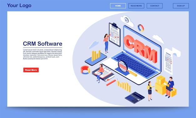 Isometrische zielseitenvektorvorlage der crm-software. arbeitsprozess, workflow-organisation und website-oberfläche des optimierungsdienstes. zielseite des kundenbeziehungsmanagementsystems 3d