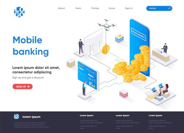 Isometrische zielseitenvorlage für mobile banking