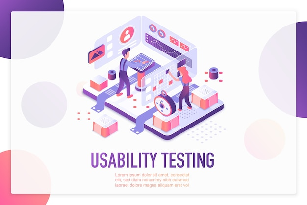 Isometrische zielseitenvorlage für usability-tests.