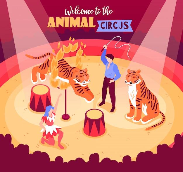 Isometrische zirkusartisten zeigen komposition mit tieren und künstlern in der arena mit publikum