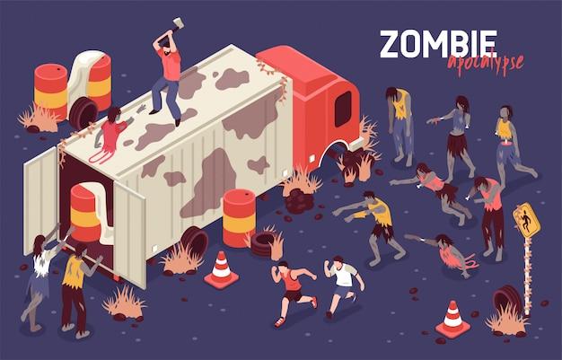 Isometrische zombie-kampf