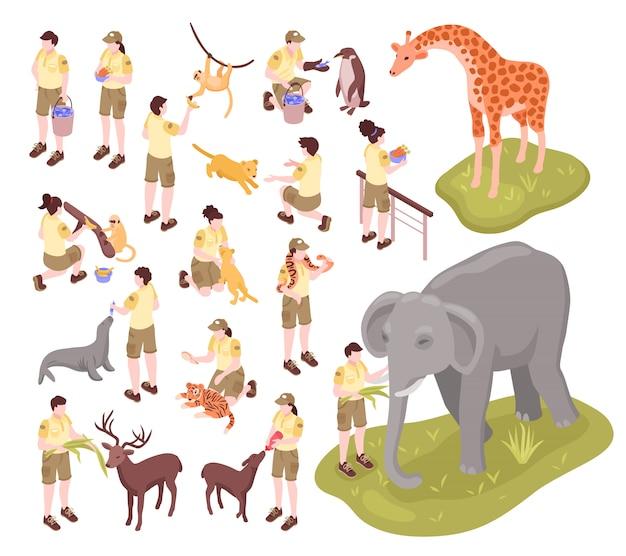 Isometrische zooarbeiter setzen menschliche charaktere von tierpflegern und tieren auf leerem hintergrund ein