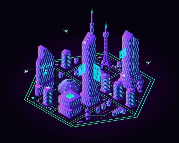 Isometrische zukünftige nachtstadt