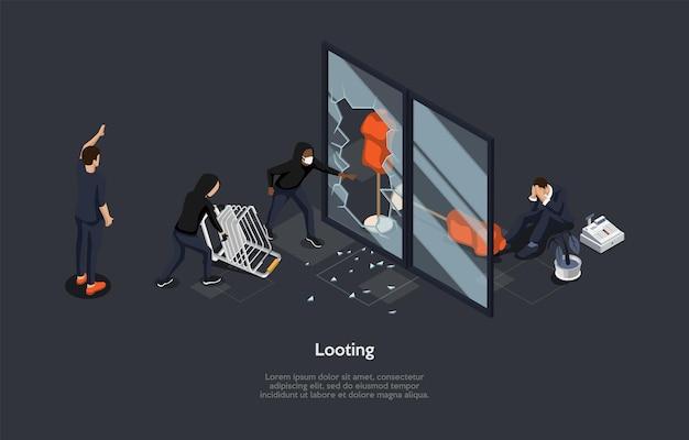 Isometrische zusammensetzung auf dunklem hintergrund. vektor-3d-illustration im cartoon-stil. plünderung, raubkonzept. charakter, der schreit. gruppe aggressiver menschen, die schaufenster abstürzen. diebstahlprozess