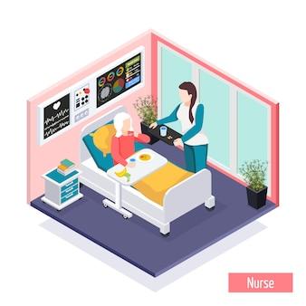 Isometrische zusammensetzung der altenpflegeheim-einrichtung mit dem personal, das sorgfalt für bewohnerillustration leistet