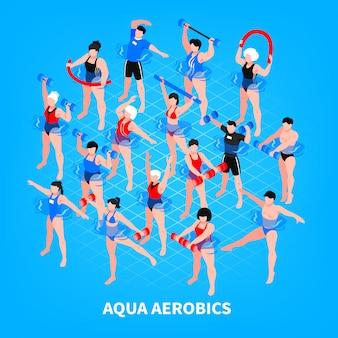 Isometrische zusammensetzung der aquaaerobic auf blauen männern und frauen mit sportausrüstung während der trainingsillustration