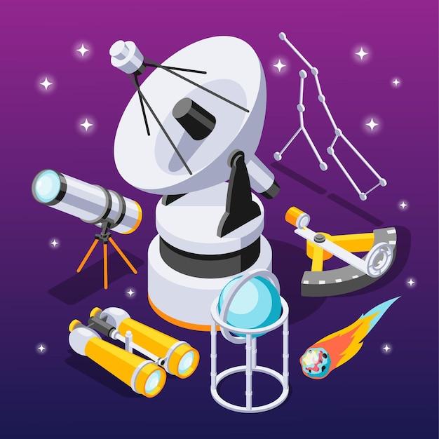Isometrische zusammensetzung der astronomie mit elementen von beobachtungsgeräten mit sternkonstellationen auf violettem farbverlauf