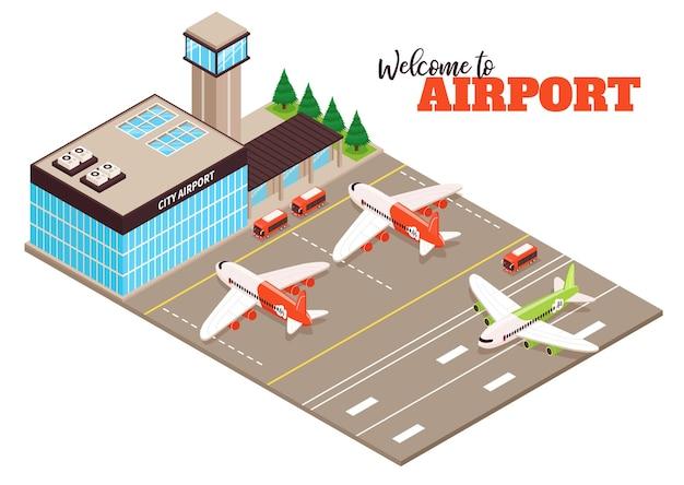 Isometrische zusammensetzung der außenanlage des flugplatzterminals des stadtflughafenterminals mit landebahnflugzeugen des flugplatzflugzeugbusses
