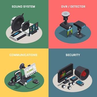 Isometrische zusammensetzung der autoelektronik mit vier quadraten des autos mit soundsystem dvr-detektorkommunikation