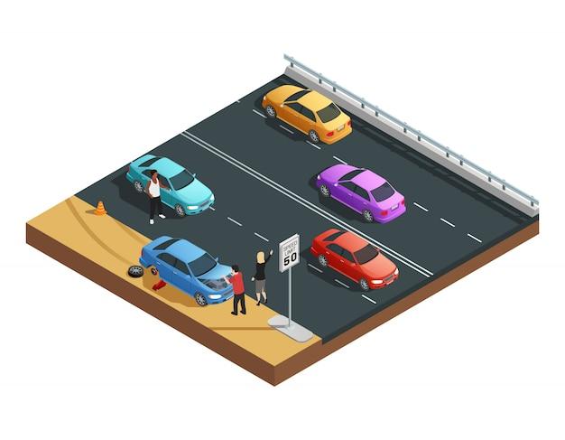 Isometrische zusammensetzung der autounfälle mit zwei leuten, die einen flachen reifen haben und um hilfsvektor illu bitten