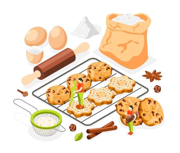 Isometrische zusammensetzung der bäckereileute Kostenlosen Vektoren