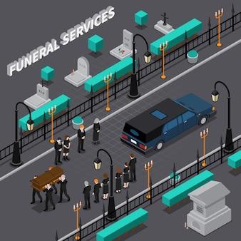 Isometrische zusammensetzung der bestattungsdienstleistungen