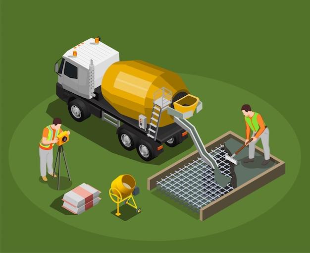 Isometrische zusammensetzung der betonherstellung mit mischtrommel und betonmischer mit menschlichen charakteren der arbeiter
