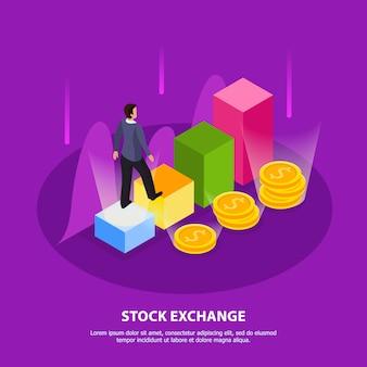 Isometrische zusammensetzung der börse mit überschrift der börse und abbildung der abstrakten elemente