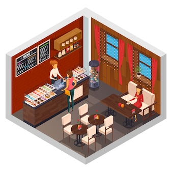 Isometrische zusammensetzung der café-innenrestaurantpizzeria-bistro-kantine mit kuchenshop-anzeigenzähler und besuchersitzplatzvektorillustration