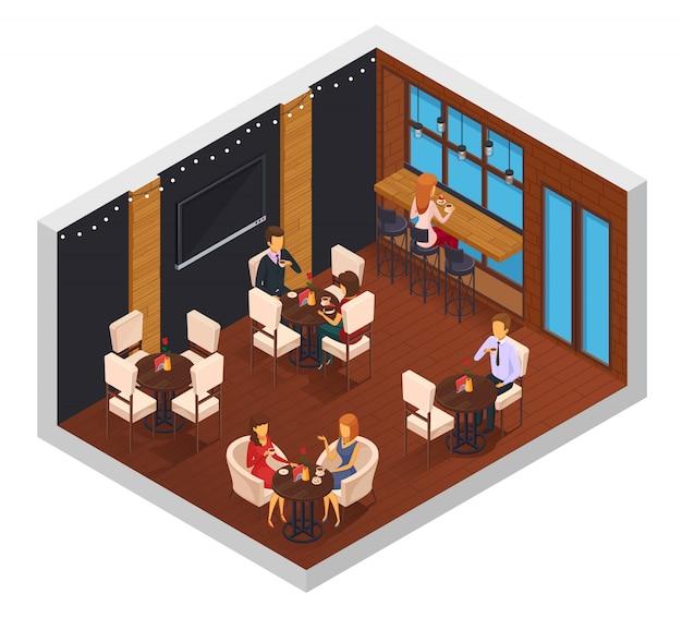 Isometrische zusammensetzung der caféinnenrestaurant-pizzaristuristokantine des cafés mit fenstern-fernsehtabellen und besuchercharakter-vektorillustration