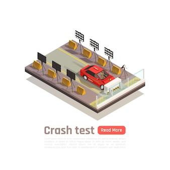 Isometrische zusammensetzung der crashtest-autosicherheit mit bild des autos, das in eine barrierekamera und ein beleuchtungsbanner stürzt