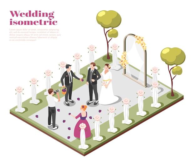 Isometrische zusammensetzung der ehe mit dem paar, das auf der hochzeitszeremonie im freien heiratet