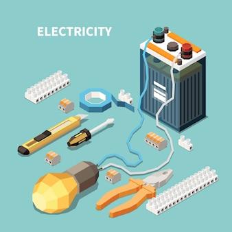 Isometrische zusammensetzung der elektrizität mit bildern von elektrischen geräten und werkzeugen mit an die lampe angeschlossener akkubatterie