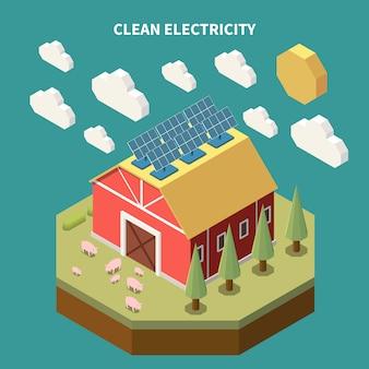 Isometrische zusammensetzung der elektrizität mit blick auf das gebäude der farmscheune mit auf dem dach installierten solarbatteriepaneelen