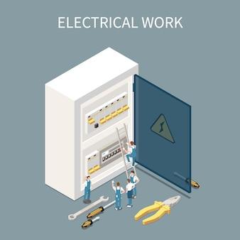 Isometrische zusammensetzung der elektrizität mit konzeptionellen bildern der schalttafel des elektrischen verteilerkastens und kleinen charakteren von arbeitern