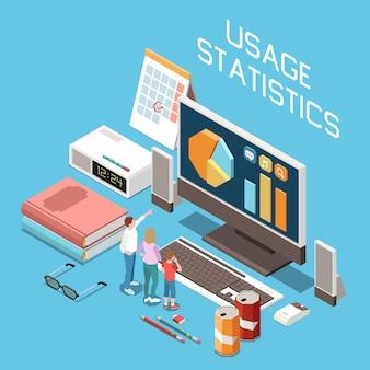 Isometrische zusammensetzung der elterlichen digitalen kontrolle mit auf dem monitor angezeigtem statistikdiagramm zur überprüfung der bildschirmzeitnutzung
