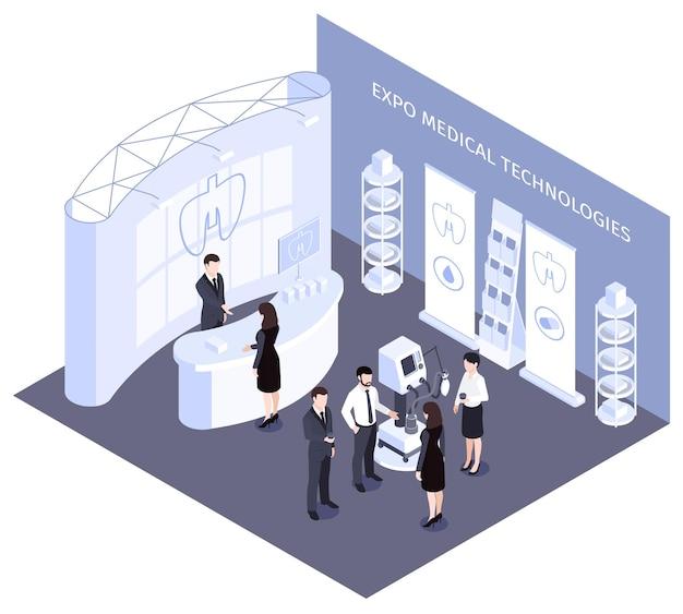 Isometrische zusammensetzung der expo medical technologies mit mitarbeitern, die die arbeit von high-tech-robotergeräten demonstrieren