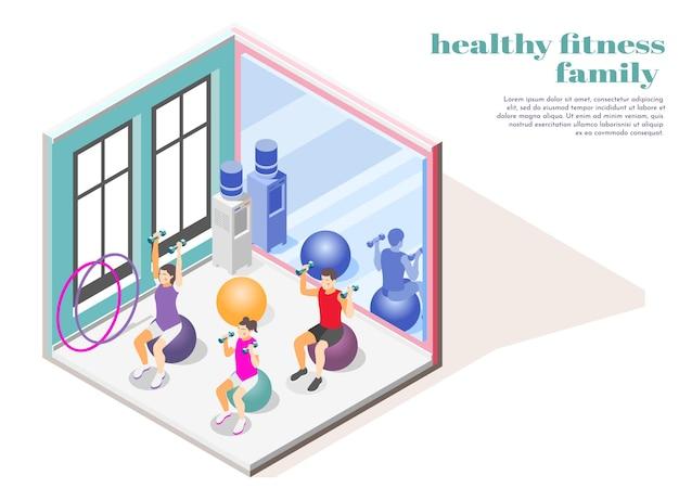 Isometrische zusammensetzung der familienfitness mit mutter, vater und tochter, die im fitnessstudio mit hanteln sportbällen und hula hoop trainieren