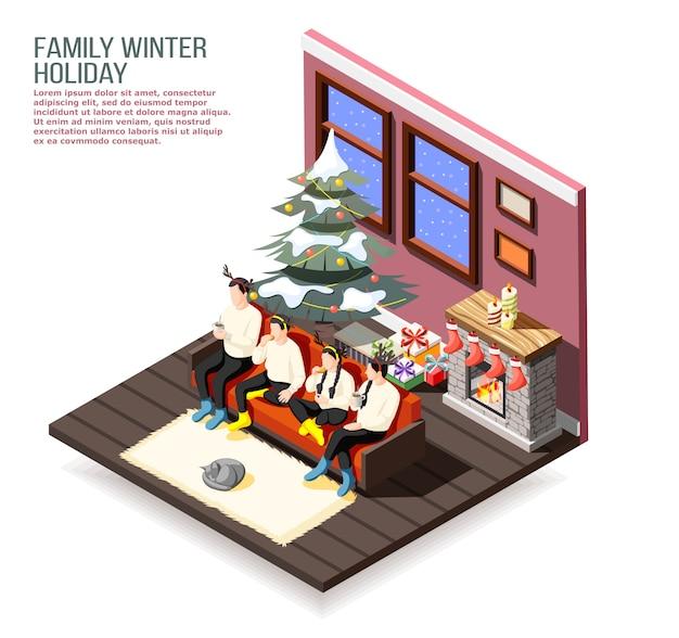 Isometrische zusammensetzung der familienweihnachtsferien mit eltern und kindern auf sofa im dekorierten hauptinnenraum