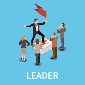 Isometrische zusammensetzung der führung mit text und menschlichen charakteren von teamarbeitern, die den mann mit flagge umgeben